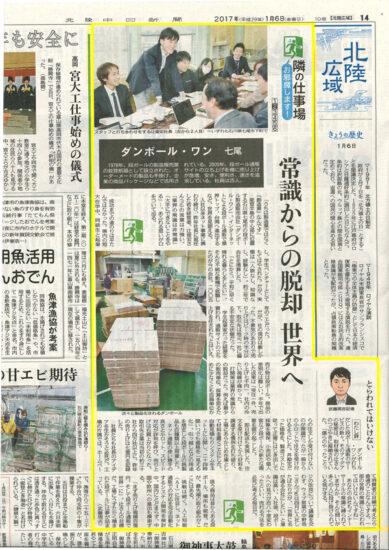 北陸中日新聞(1月6日朝刊)に掲載されました。